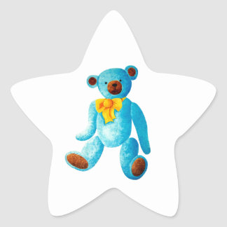 Vintage/Traditional Style Blue Painted Teddy Bear Star Sticker