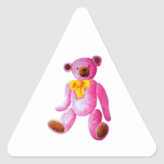 Vintage/Traditional Style Pink Teddy Bear Triangle Sticker