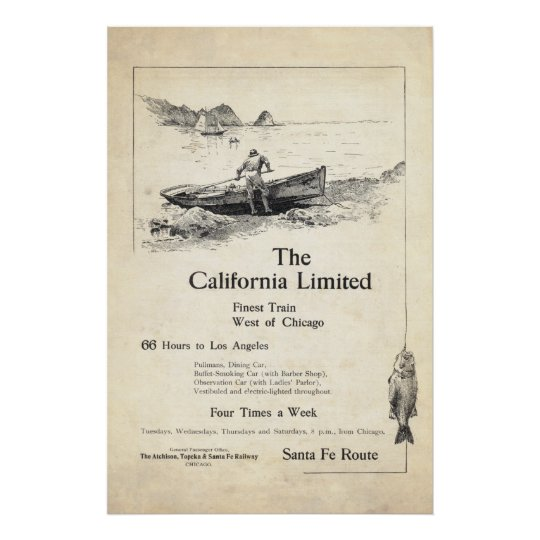 Vintage Train Ad from 1899 Poster