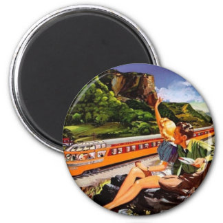 vintage train ad 6 cm round magnet