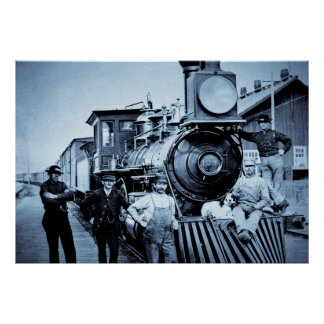 Vintage Train and Crew Poster
