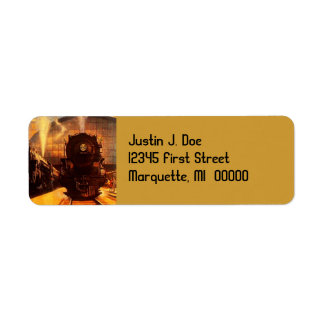 Vintage Train Locomotive RR Return address Label