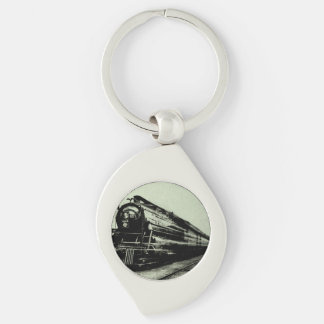 Vintage Train Photo in Motion with Blur Key Ring
