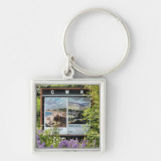 VINTAGE TRAIN STATION SIGNS Silver-Colored SQUARE KEY RING