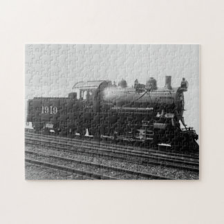 Vintage Train Steam Engine Rails Track Black White Jigsaw Puzzle