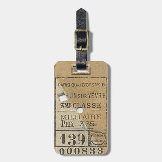 Vintage Train Ticket 1800's Luggage Tag