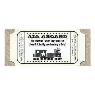 Vintage Train Ticket Baby Shower Custom Announcement