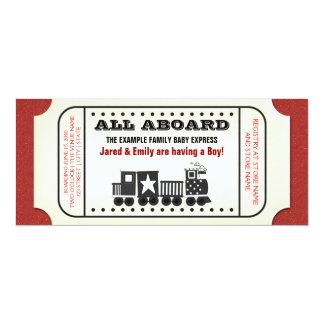 Vintage Train Ticket Baby Shower Announcements