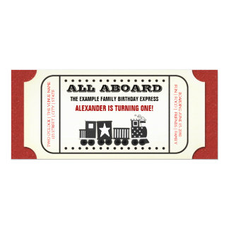 Vintage Train Ticket Birthday Party Card