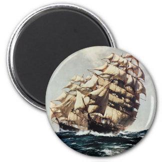 Vintage Transporation, Clipper Ships in Rough Seas 6 Cm Round Magnet