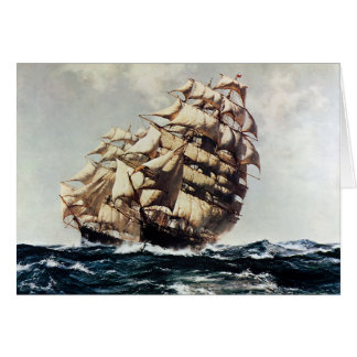Vintage Transporation, Clipper Ships in Rough Seas Note Card