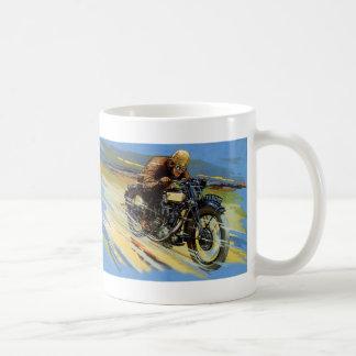 Vintage Transportation, Blue Motorcycle Race Rider Mug