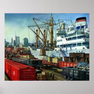 Vintage Transportation Cargo Ship Docked in Port Poster