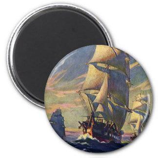 Vintage Transportation, Clipper Ships at Sea 6 Cm Round Magnet