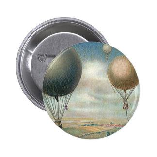 Vintage Transportation Hot Air Balloons, Dirigible 6 Cm Round Badge