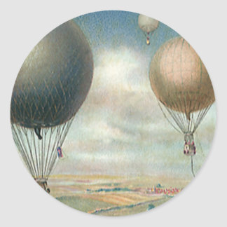 Vintage Transportation Hot Air Balloons, Dirigible Round Sticker