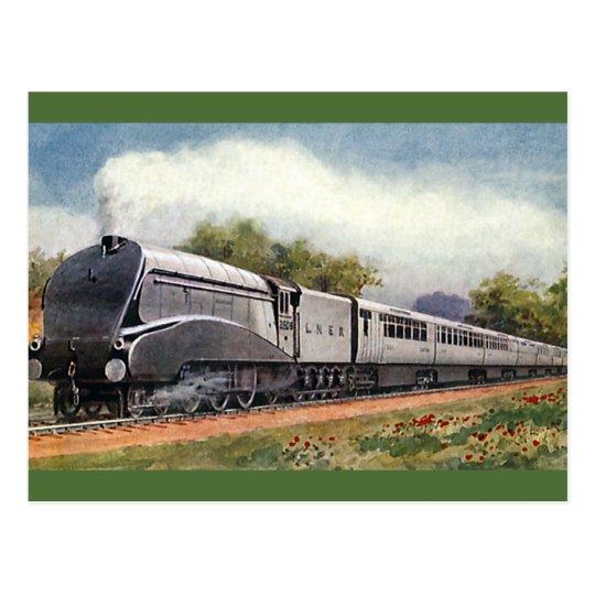 Vintage Transportation, Modern Silver Bullet Train Postcard