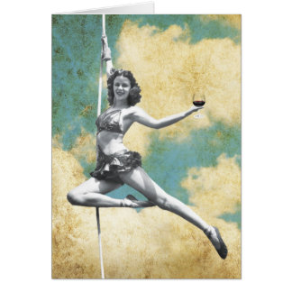 Vintage Trapeze Woman with Wine Greeting Card