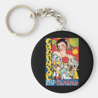 Vintage Travel 1937 Panama Carnival Party Woman Basic Round Button Key Ring