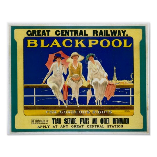 Vintage Travel Advert / Blackpool England 1900's Poster