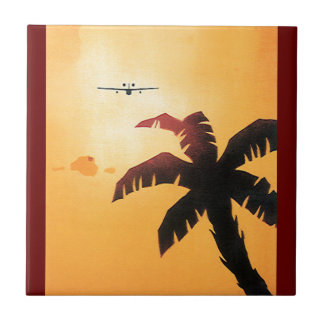 Vintage Travel, Airplane Over Hawaiian Islands Tile