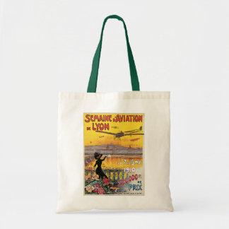 Vintage Travel, Airplanes Air Show, Lyon, France Budget Tote Bag