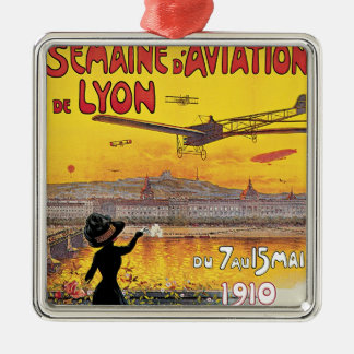 Vintage Travel, Airplanes Air Show, Lyon, France Christmas Ornament