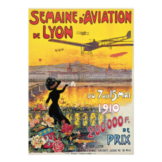 Vintage Travel Airplanes Air Show Lyon France Custom Invite