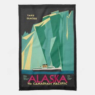 Vintage Travel Alaska Taku Glacier Cruise Ship Tea Towel