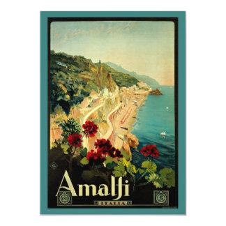 Vintage Travel, Amalfi Italian Coast Beach 13 Cm X 18 Cm Invitation Card
