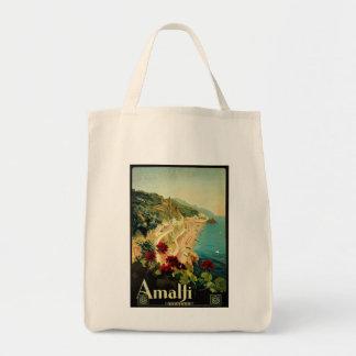 Vintage Travel, Amalfi Italian Coast Beach Tote Bags