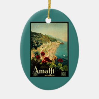 Vintage Travel, Amalfi Italian Coast Beach Christmas Ornament