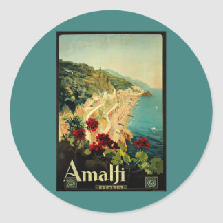 Vintage Travel, Amalfi Italian Coast Beach Classic Round Sticker