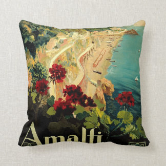 Vintage Travel, Amalfi Italian Coast Beach Cushion