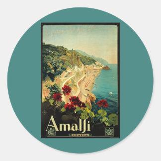 Vintage Travel, Amalfi Italian Coast Beach Round Sticker