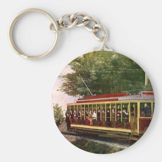 Vintage Travel and Transportation Electric Trolley Basic Round Button Key Ring