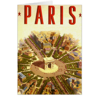Vintage Travel, Arc de Triomphe Paris France Card