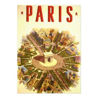 Vintage Travel Arc de Triomphe Paris France Custom Invite