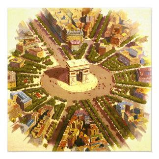 Vintage Travel Arc de Triomphe Paris France Invite