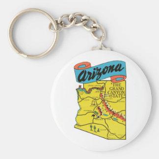 Vintage Travel Arizona AZ State Label Basic Round Button Key Ring