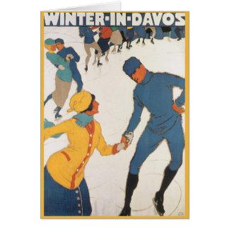 Vintage Travel, Art Deco, Winter Davos Switzerland Card