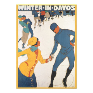 Vintage Travel Art Deco Winter Davos Switzerland Invitations