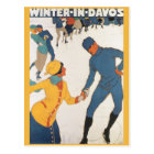 Vintage Travel, Art Deco, Winter Davos Switzerland Postcard