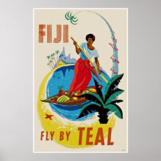 Vintage Travel Art Poster Oceanic Fiji
