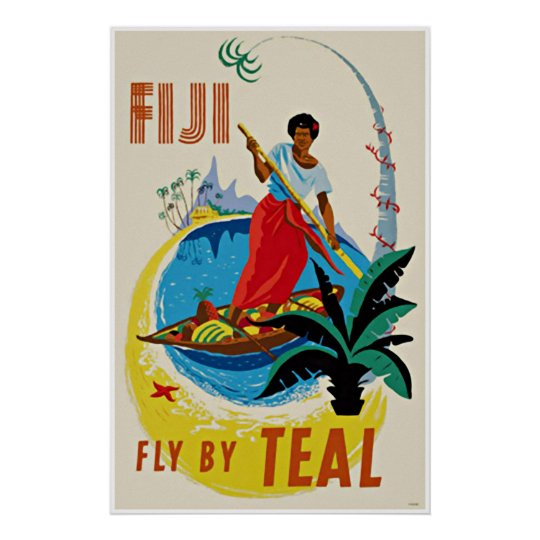 Vintage Travel Art Poster Oceanic Fiji