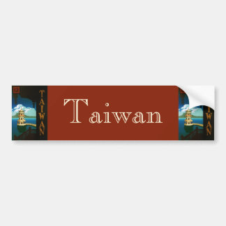 Vintage Travel Asia, Taiwan Pagoda Tiered Tower Bumper Sticker