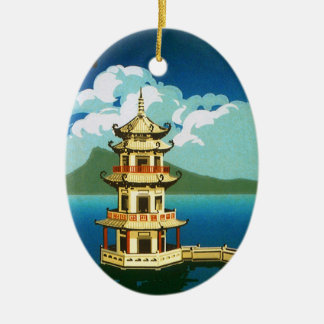 Vintage Travel Asia, Taiwan Pagoda Tiered Tower Ceramic Oval Decoration