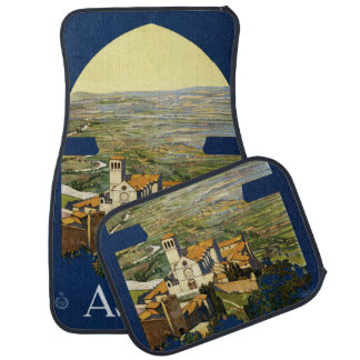 Vintage Travel Assisi Italy car floor mats