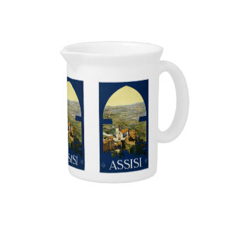 Vintage Travel Assisi Italy pitcher