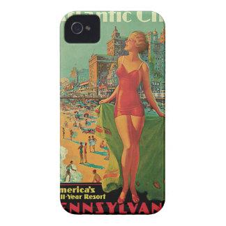 Vintage Travel; Atlantic City Resort, Beach Blonde Case-Mate iPhone 4 Case